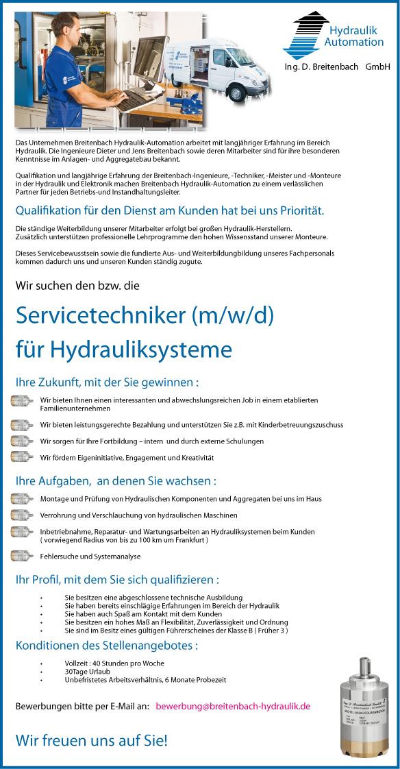 Stellenanzeige: Servicetechniker (m/w/d) für Hydrauliksysteme